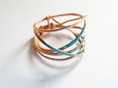 Twigs Entwined Rustic Copper Ring with Turquoise Patina, Industrial, Metalworked Jewelry, Bohemian Rings. $18.00, via Etsy.