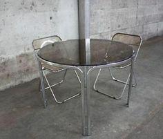 ≥ Vintage design ronde tafel chroom rookglas made in Italy - Tafels | Eettafels - Marktplaats.nl