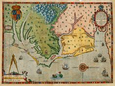 Antique map of the Virginia Colony in 1585 by John White and Theodor de Bry