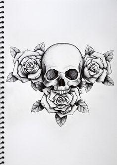 Hand Tattoos, Skull Rose Tattoos, Neue Tattoos, Black Tattoos, Body Art Tattoos, Cross Tattoos, Chest Piece Tattoos, Chest Tattoo Skull, 3 Roses Tattoo