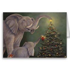 Jumbo Holiday Card - Elephants celebrating Christmas decorating a tree