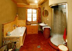 Ekodům, který má v základech polodrahokamy– Novinky.cz Corner Bathtub, Bathroom, Tiny Houses, Washroom, Small Homes, Full Bath, Little Houses, Small Houses, Miniature Houses