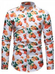 Fruit Oranges Print Long Sleeve Shirt - White - - Men's Clothing, Men's Tops & T-Shirts, Men's Shirts # # Cool Shirts For Men, Formal Shirts For Men, Mens Shirt Pattern, Black Casual Shirt, Mens Kurta Designs, Mens Clothing Styles, Men's Clothing, Mens Shirts Online, Slim Fit Dress Shirts