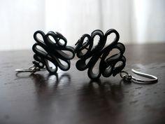 Badass Candy Ribbon - Recycled Bike Tube earrings. $15.00, via Etsy.