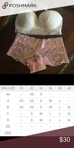 Pink Lace Set Holiday Perfect Ivory Lace White Bra , size Large , NWT , Lace Boy-Short peach creamy size medium ,NWT, super adorable. Pink. PINK Victoria's Secret Intimates & Sleepwear