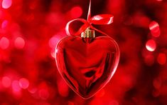 Download wallpapers heart, 4k, bokeh, Valentines Day, red heart, hearts