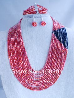Free Shipping !!! A-143 Red African Wedding Jewelry Set Facet Crystal Necklace Bracelet Earrings  $74.55