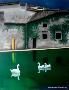 Quadro Pintura by Jorge Marcovich Ao Anoitecer 65x50 Swan Oil Painting Cisnes