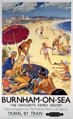 British Railways poster The favourite Family Resort Artwork by artist Peter Old Posters, Train Posters, Railway Posters, British Travel, British Seaside, British Railways, Tourism Poster, Retro Poster, Poster Vintage