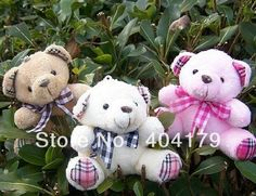 plush toys lovely teddy bear wedding gift with stripe ribbon 6cm mobile charm