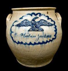 New England Stoneware - Crocker Farm Stoneware Auction Antique Crocks, Old Crocks, Antique Stoneware, Stoneware Crocks, Antique Pottery, Glazes For Pottery, Glazed Pottery, Bunker Hill, Antique Bottles