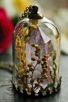 Amethyst crystal necklace crystal terrarium by RubyRobinBoutique