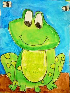 "Grade frog project:""we drew and painted frogs and then wrote frog facts… stacey rhoades · animal art projects First Grade Art, 2nd Grade Art, Frog Facts, Spring Art Projects, Ecole Art, Kindergarten Art, Preschool, Art Lesson Plans, Art Classroom"