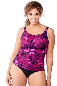 562a3cd0d5fd4 Lands  End Women s Scoopneck Tankini Top - berry floral