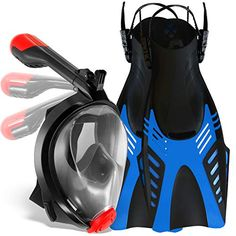 6831af35c641 cozia design Snorkel Set with Foldable Snorkel MASK - Swim FINS Included -  Premium Set Ocean