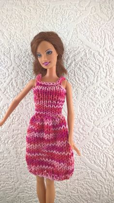 Pretty shaded pink sun dress for Barbie. by Nobodyknitsitbetter