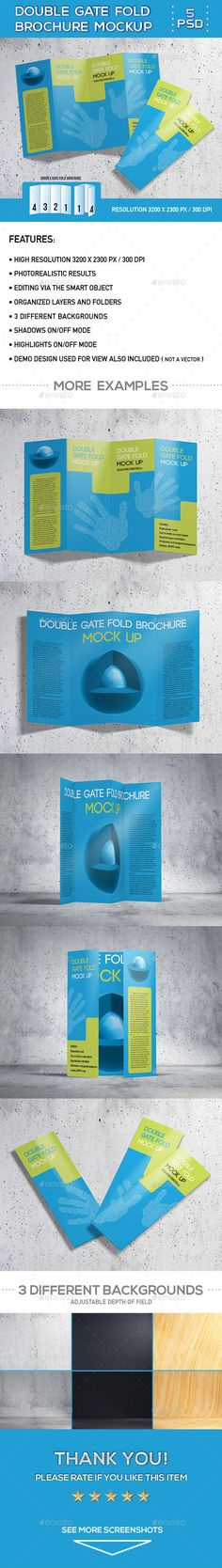 Double Gatefold Brochure Mock Up 2 | Mockup, Brochures And Design Layouts