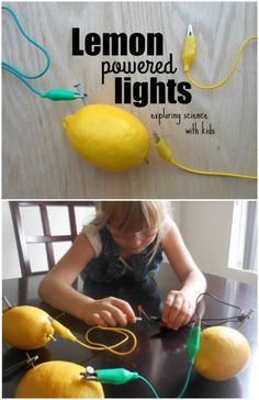 This lemon battery experiment is a perfect activity to get our girls excited about exploring STEM. With only a few materials you can light up an LED bulb. Science Experiments Kids, Science Lessons, Teaching Science, Science For Kids, Science Projects, Life Science, School Projects, Mad Science, Teaching Tools