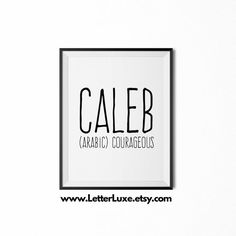 Caleb Name Meaning  Printable Nursery Art  Baby by LetterLuxe