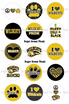 INSTANT DOWNLOAD Yellow  Gold Wildcats    School by sugarnspicebow