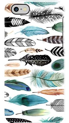 """""""Teal Plumes"""" by Margaret Berg for the iPhone 6 Black Bezel Deflector"""