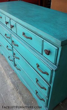 Rustic Turquoise dresser upstyled from a purple spray painted cringe-worthy piece. See the before & after at Facelift Furntiure!