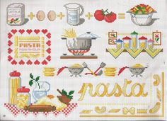 kitchen pattern / chart for cross stitch, crochet, knitting, knotting, beading, weaving, pixel art, micro macrame, and other crafting projects.