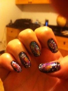 My 1st attempt at Galaxy nail art