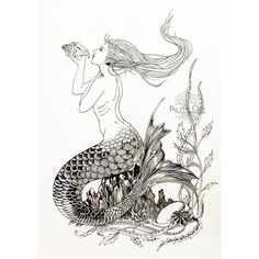 Original Ink Drawing Fantasy Art Nouveau Illustration Mermaids Shells... (£57) ❤ liked on Polyvore featuring home, home decor, wall art, outdoor home decor, outdoor wall art, mermaid tail drawing, fairy tale illustration and art nouveau home decor
