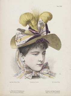 1890's hat decorated with ribbons and feathers