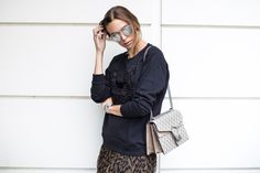 Sweater, Kenzo ( here ) / Skirt, Ganni ( here ) / Bag, Gucci Shades, Dior…