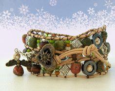 Edelweiss Leather wrap bracelet typical Bavarian by OceanBead, via Etsy.
