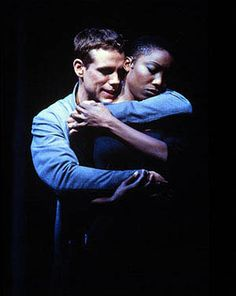 Adam Pascal as Radames and Heather Headley as the title slave girl face death in Disney's AIDA on Broadway.