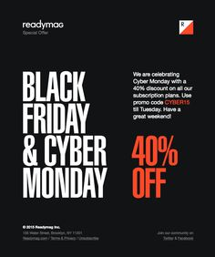 @readymagpins  sent this email with the subject line: Cyber Monday 40% Off - Looking at all these black friday emails have been hurting my eyeballs, but this one was very different with their layout. It was kind of refreshing. Read about this email and find more promotion emails at ReallyGoodEmails.com #promotion #holiday