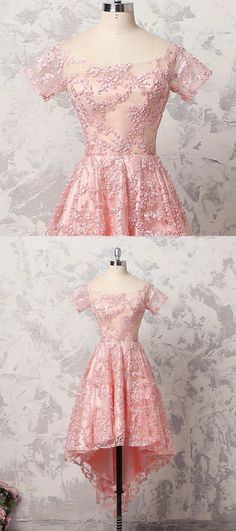 Pretty pink lace short sleeve high low A-line prom dress #prom #dress #promdress