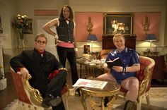 #EltonJohn joins #DavidWalliams and Matt Lucas for a #LittleBritain special on #RedNoseDay 2005