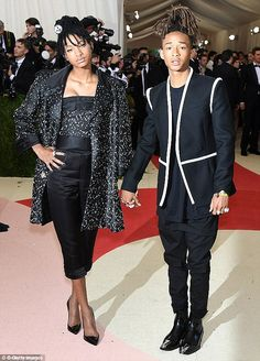 Family affairs: The Willow Smith, 15 rivalled her brother on the unique fashion front and looked sensational at the Met Gala in a long form-fitting dress which featured splatters of white spots Willow Smith, Beauty And Fashion, Unique Fashion, Outfit Man, Star Wars, Vogue, Chanel, Black Families, Punk