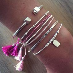 Composition de bracelets rose et argent - L'Atelier d'Amaya