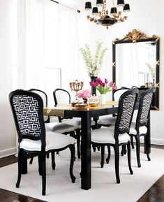 More click [.] Unique Dining Room Design Ideas French Style Modern Black And White Dining Room French Style At Home Salongallery Dining Room Black And White Dining Room French Style At Home Salongallery Black And White Dining Room, White Rooms, Black White, Black Gold, Black Table, Color Black, White Rug, Pretty Black, Ivory White