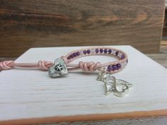 Amethyst Rose Handmade Gemstone Leather Wrap Bracelet with Amethyst and Rose Quartz  by OffOnAWhimJewelry