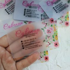 Business cards on plastic. Transparent Business Cards, Elegant Business Cards, Business Card Design, Cute Business Cards, Clear Business Cards, Business Stickers, Home Nail Salon, Nail Salon Design, Salon Interior Design