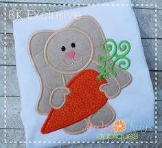 Baby Kay's Appliques - Cute Bunny with Carrot 4x4, 5x7, 6x10, 8x8, $4.00 (http://www.babykaysappliques.com/cute-bunny-with-carrot-4x4-5x7-6x10-8x8/)