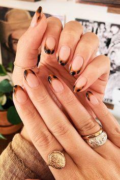 French Tip Nail Designs, Almond Nails Designs, French Tip Nails, Brown Nail Designs, Cute Gel Nails, Pink Nails, Pretty Nails, Minimalist Nails, Nagel Hacks