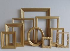 Gold PICTURE FRAMES Collection Set of 9   by MollyMcShabby on Etsy