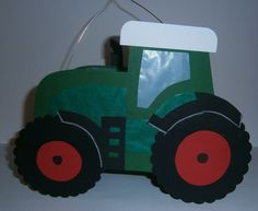 Laterne Traktor dunkelgrün-rot