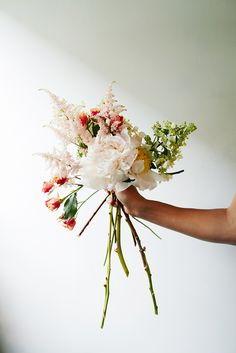 Flower-Arranging Secrets Straight From A Brooklyn Florist #refinery29  http://www.refinery29.com/diy-wedding-bouquets#slide13  Accent flowers provide dimension, interesting texture, and a pop of color in an otherwise neutral palette. Again, keep to the rule of odd numbers and add your blooms one by one.
