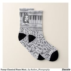 Funny Classical Piano Music Composer Note Pattern Socks - Fancy Customizable All-Over-Print Crew Socks By Talented Fashion And Graphic Designers - Fashion Shoes, Mens Fashion, Trendy Fashion, Classical Piano Music, Crew Socks, Men's Socks, Music Composers, Funny Socks, Patterned Socks