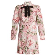 Gucci Floral-print stretch-cotton shirtdress (119.945 RUB) ❤ liked on Polyvore featuring dresses, pink multi, floral dresses, shirt dress, long sleeve collared dress, ruffle dress and long sleeve floral dress