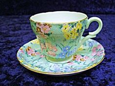 BEAUTIFUL AND RARE DEMITASSE SHELLEY CUP AND SAUCER SET, MADE BY SHELLEY, FINE BONE CHINA , ENGLAND, MELODY PATTERN
