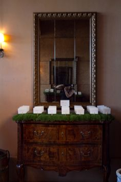 Escort cards arranged on live moss beds displayed on lovely entry foyer tables.   JulieMikos.com photographer Greenvalleygrower.com - moss beds MayacamaEvents.com